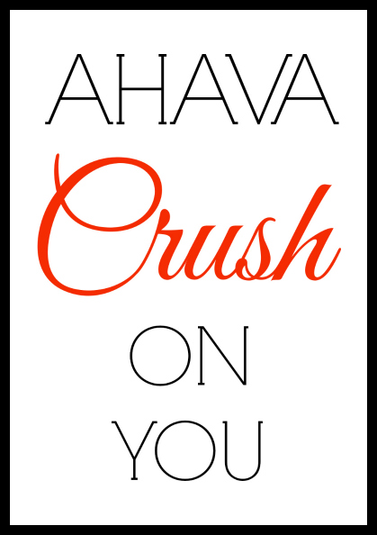 Ahava Crush On You   Jewish Valentines