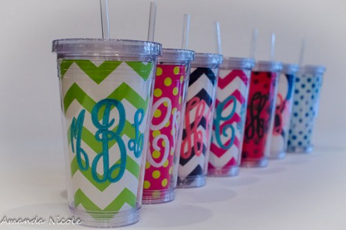 Monogrammed Cups for Bridesmaids Gifts