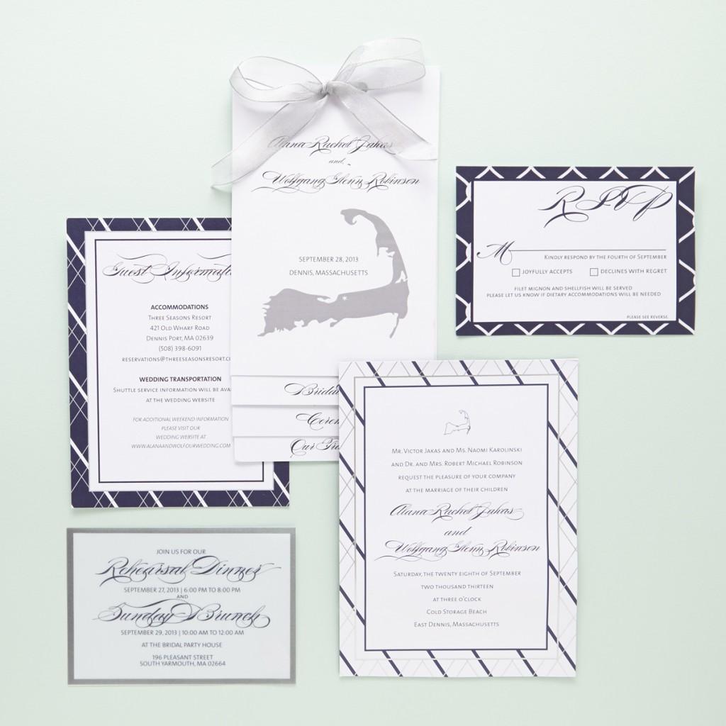Nautical Inspired Jewish Wedding Invitations   Sugar & Type 1
