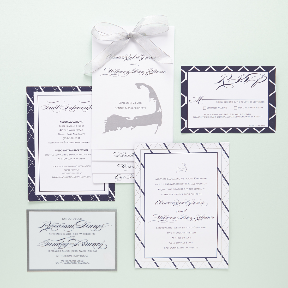 nautical inspired jewish wedding invitations sugar type 1 - Jewish Wedding Invitations