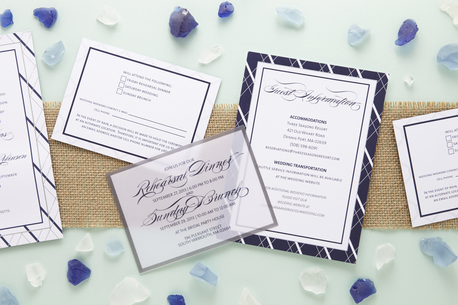 Nautical Inspired Jewish Wedding Invitations | Sugar U0026 Type 6
